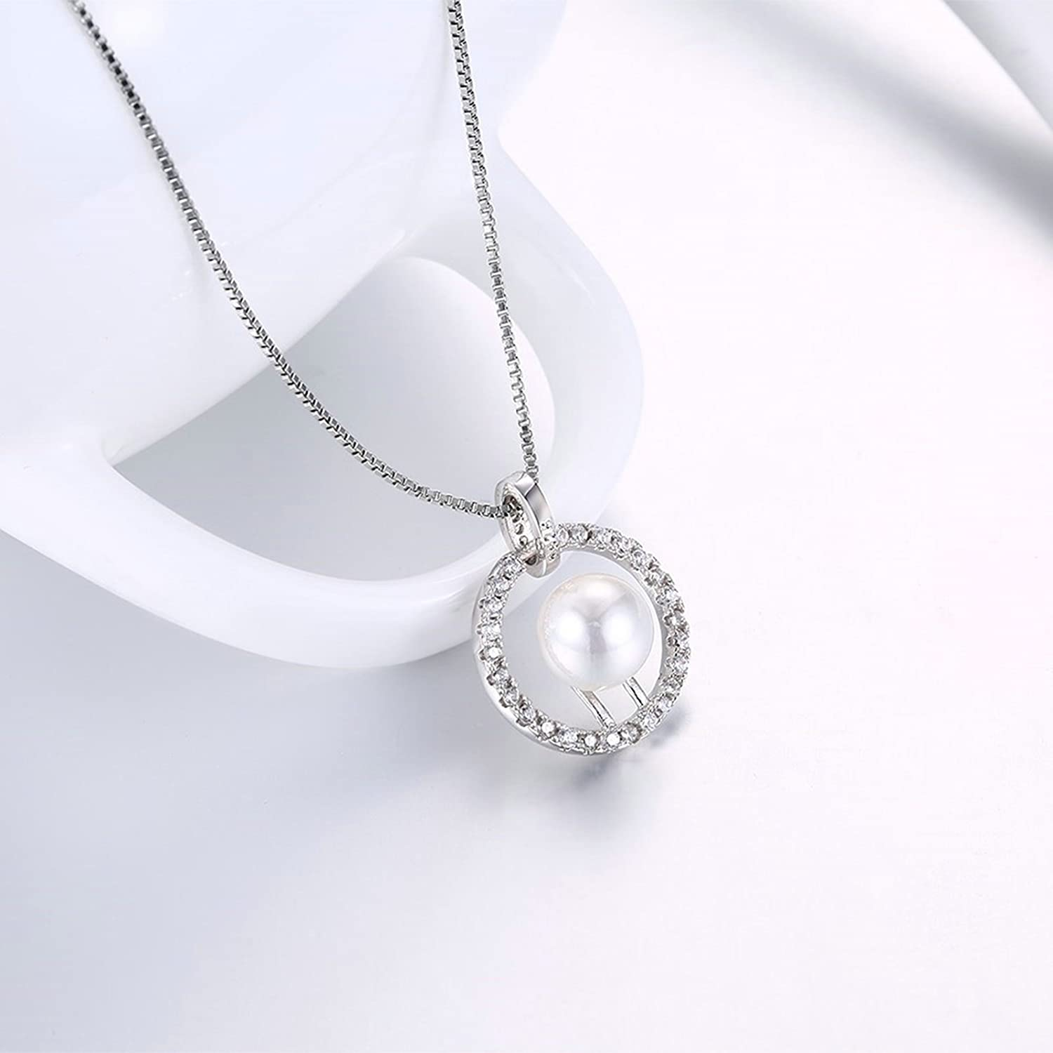 Gnzoe Jewelry Women Stainless Steel Necklace Round Shape Pendant with Pearl White Women Chain 45+5CM
