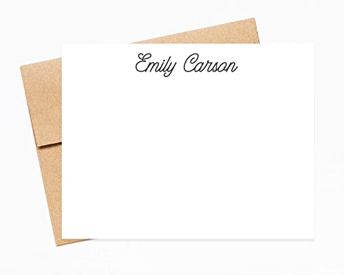 Monogram Personalized Stationary Simple Personal Custom Thank You Card Script Stationery Notecard