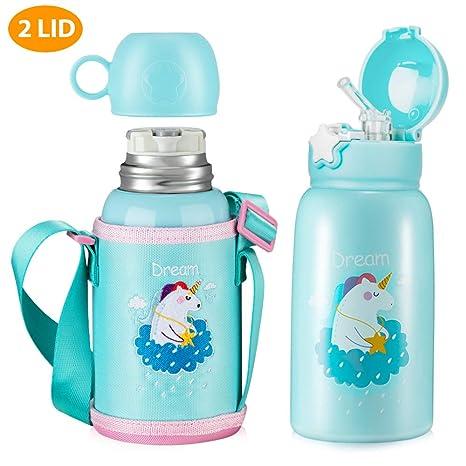 Amazon.com: Botella de agua de unicornio con pajita para ...