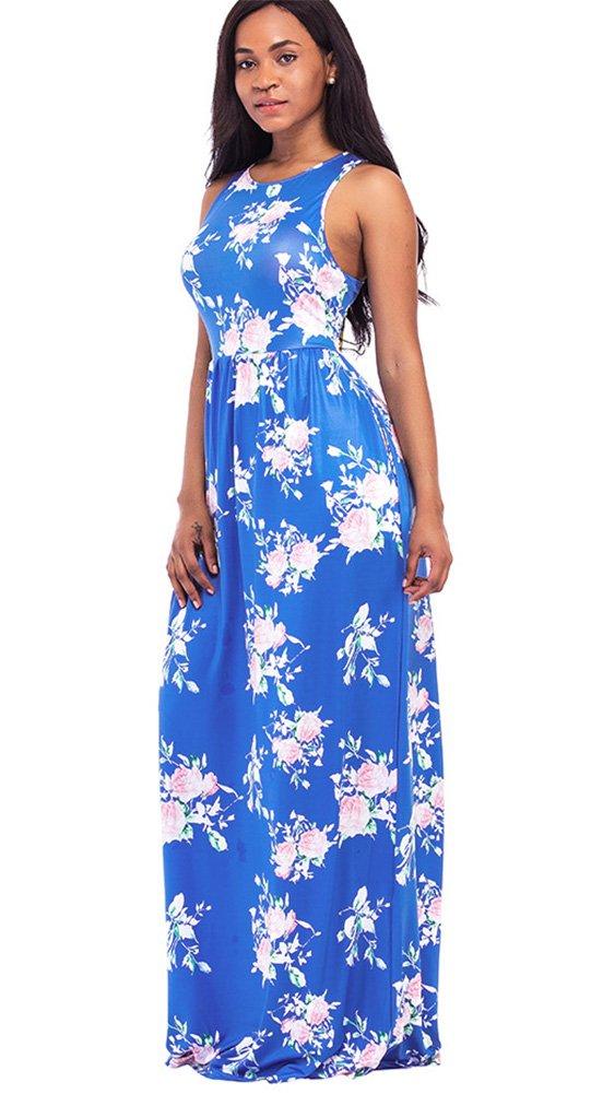 Women\'s Floral Print Racerback Sleeveless Pocket Long Maxi Casual Dress (XL, Royal Blue)