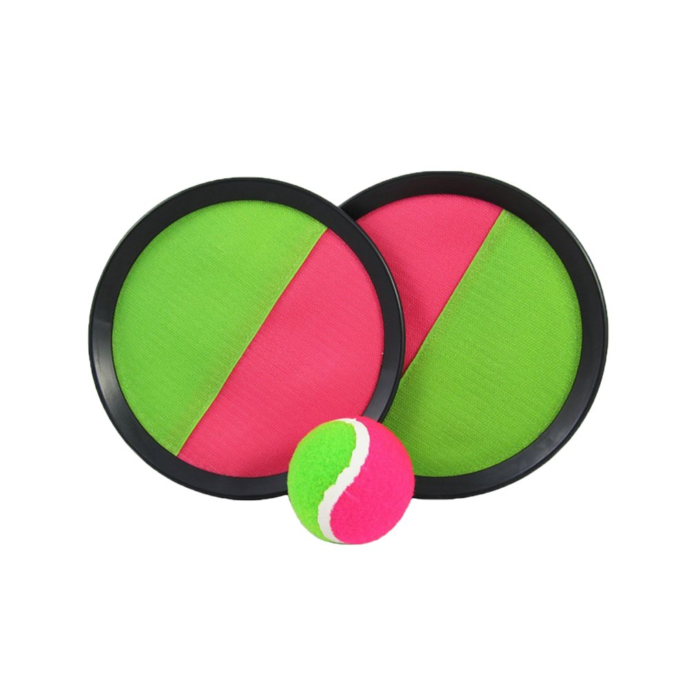 1 Set 7 Handheld Stick Disc Toy CubbyVelcro ball Paddle Catch and Toss Game Set