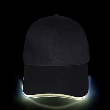 Fashion Cool Cappello da Baseball con Luci LED Cappello con Visiera Nero  regolabile 4f60bee7e353