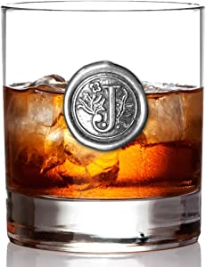 English Pewter Company 11oz Old Fashioned Whiskey Rocks Glass With Monogram Initial - Unique Gifts For Men - Personalized Gifts With Your Choice of Initial (J) MON110