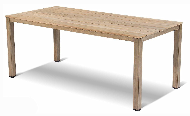 Tisch, 180 x 90 cm, mit Teakholzplatte