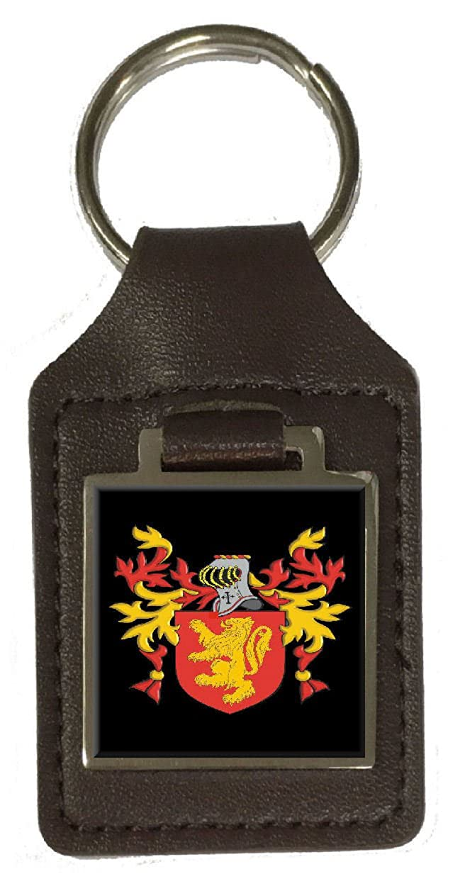 Beche Family Crest Surname Coat Of Arms Brown Leather Keyring Engraved