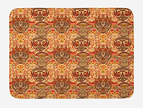Weeosazg African Bath Mat, Tribal Mask Motif with