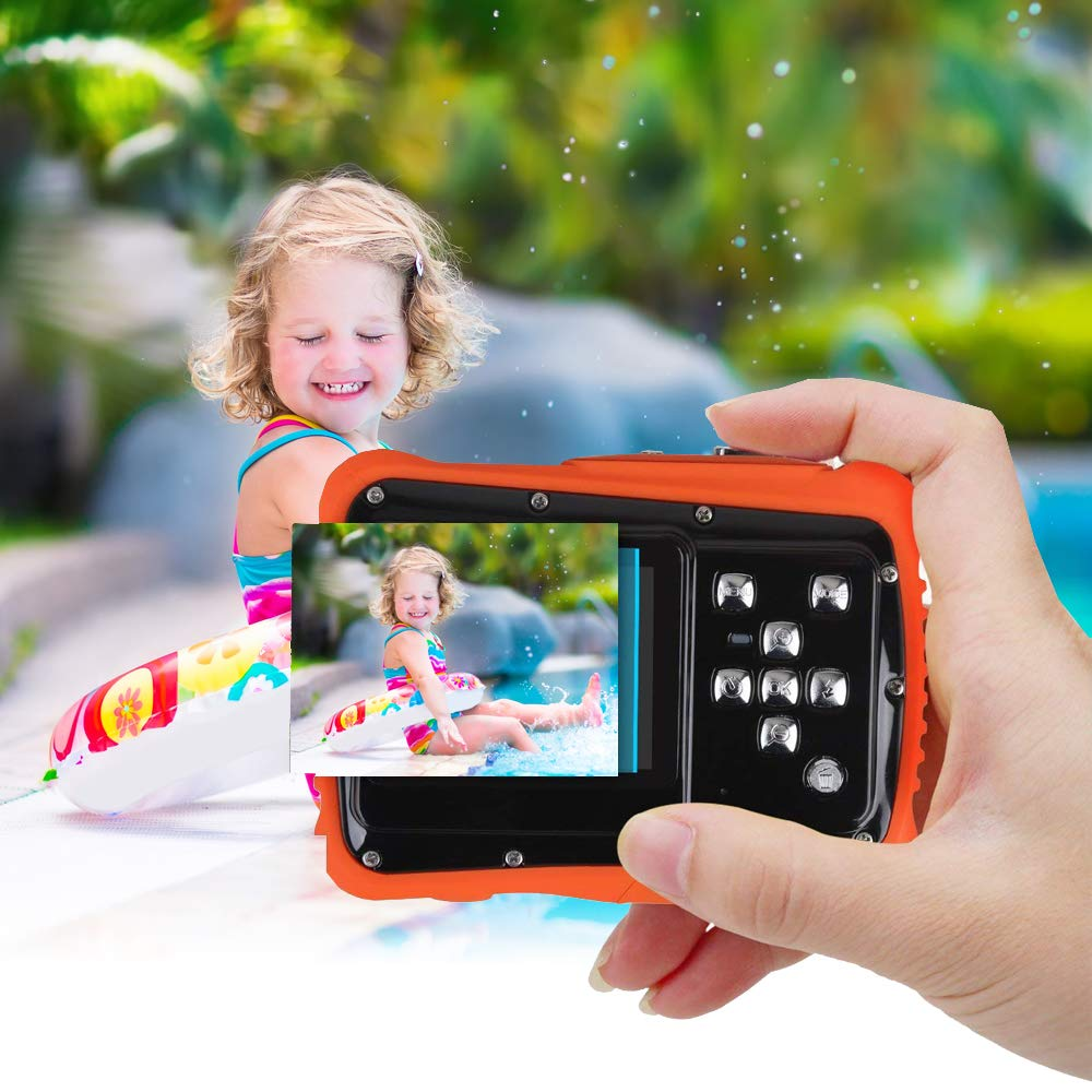 Kids Waterproof Camera Digital Camera for 4-10 Years Old Children, 12MP HD Underwater Action Camera Camcorder with 8X Digital Zoom, 2.0 Inch LCD Display, 16G Micro SD Card - Easy to Use (Orange) by tesha (Image #6)