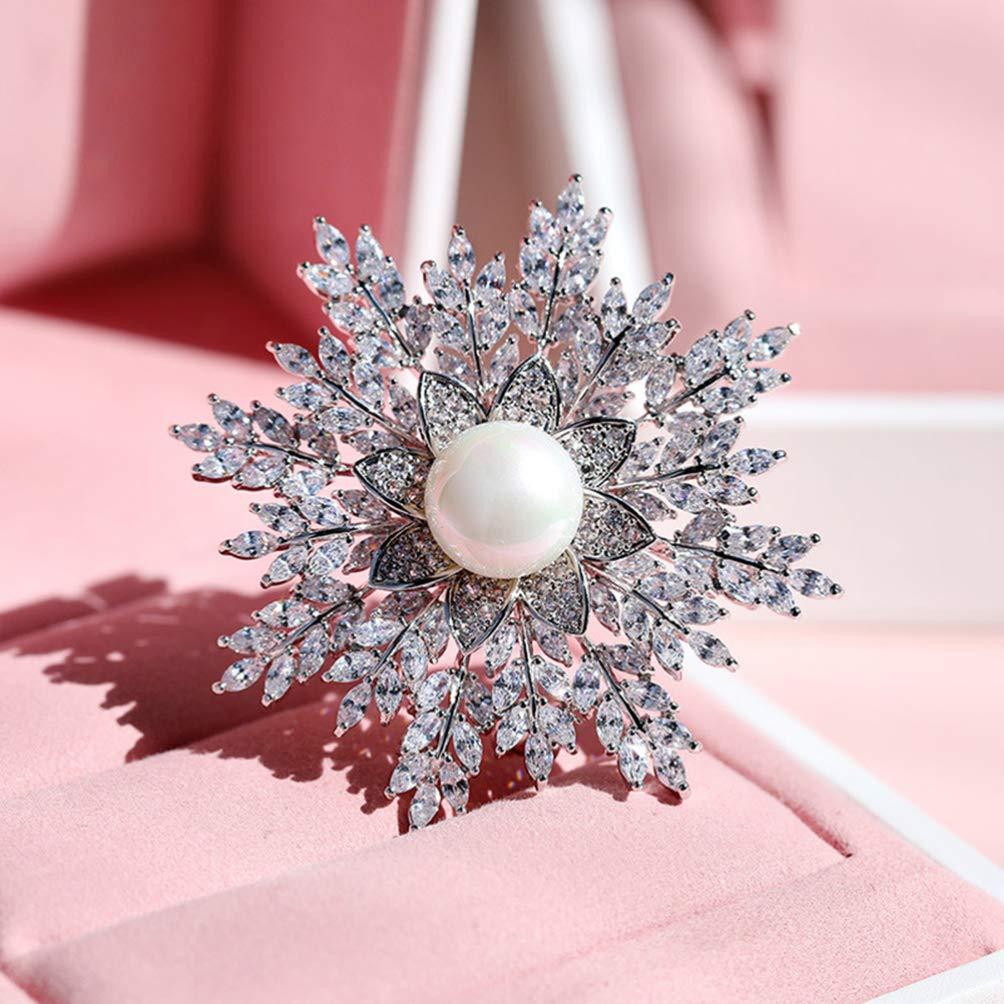 STOBOK Spilla Elegante Fiore di Cristallo Fiocco di Neve da Sposa per Accessori da Donna Conchiglia Perla Perla Spilla da Balia Argento