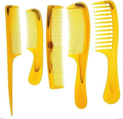 Plástico barba pelo peine Set 5pcs/pack pelo peluquería ancho ...