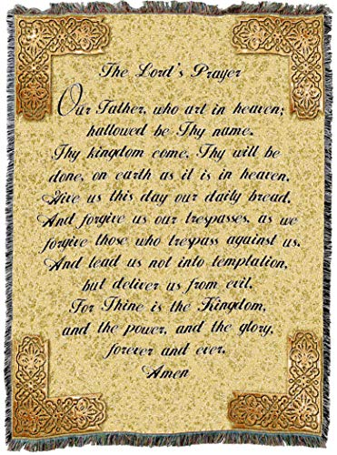 (Pure Country Weavers | Lord's Prayer English Woven Tapestry Throw Blanket with Fringe Cotton USA 72x54)