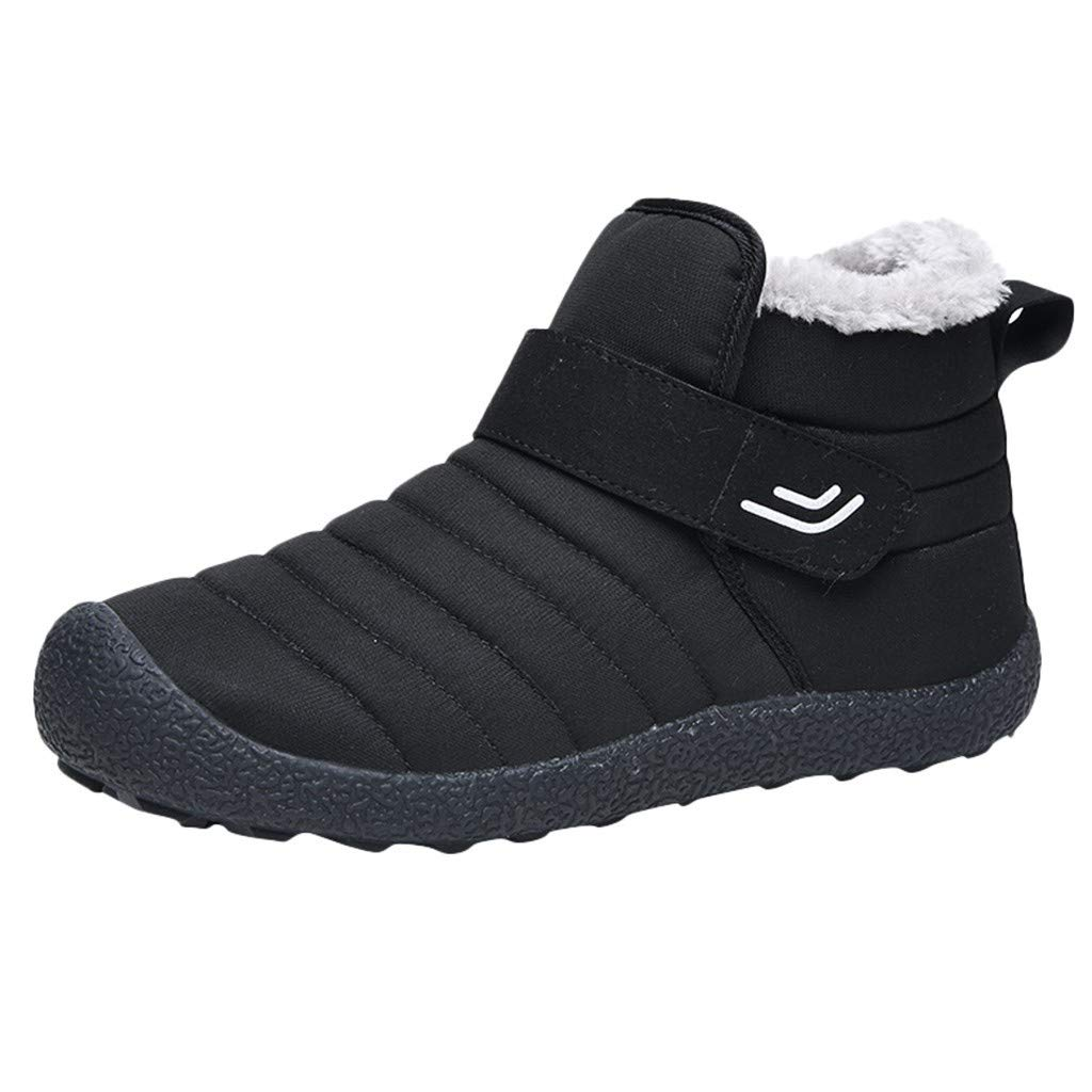 WUAI Mens Womens Snow Boots Waterproof Comfy Anti-Skid Fur Lined Warm Ankle Boots Home Flat Shoes(Black,US 11.5/CN 45) by WUAI-Shoes