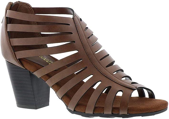 Easy Street Womens Dreamer Leather Open Toe Casual Mule Sandals