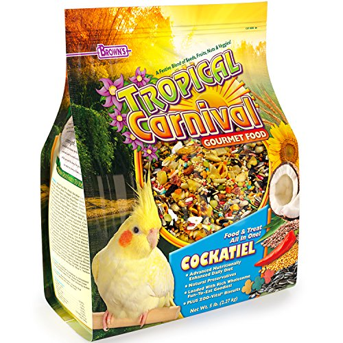 Tropical Carnival F.M. Brown's Gourmet Bird Food for Cockatiels, Lovebirds, and Conures - Vitamin-Nutrient Fortified Daily ()