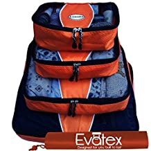 Evatex Luxury Packing Cubes, 4 Pcs Set (Orange), with Laundry, Shoe Bag