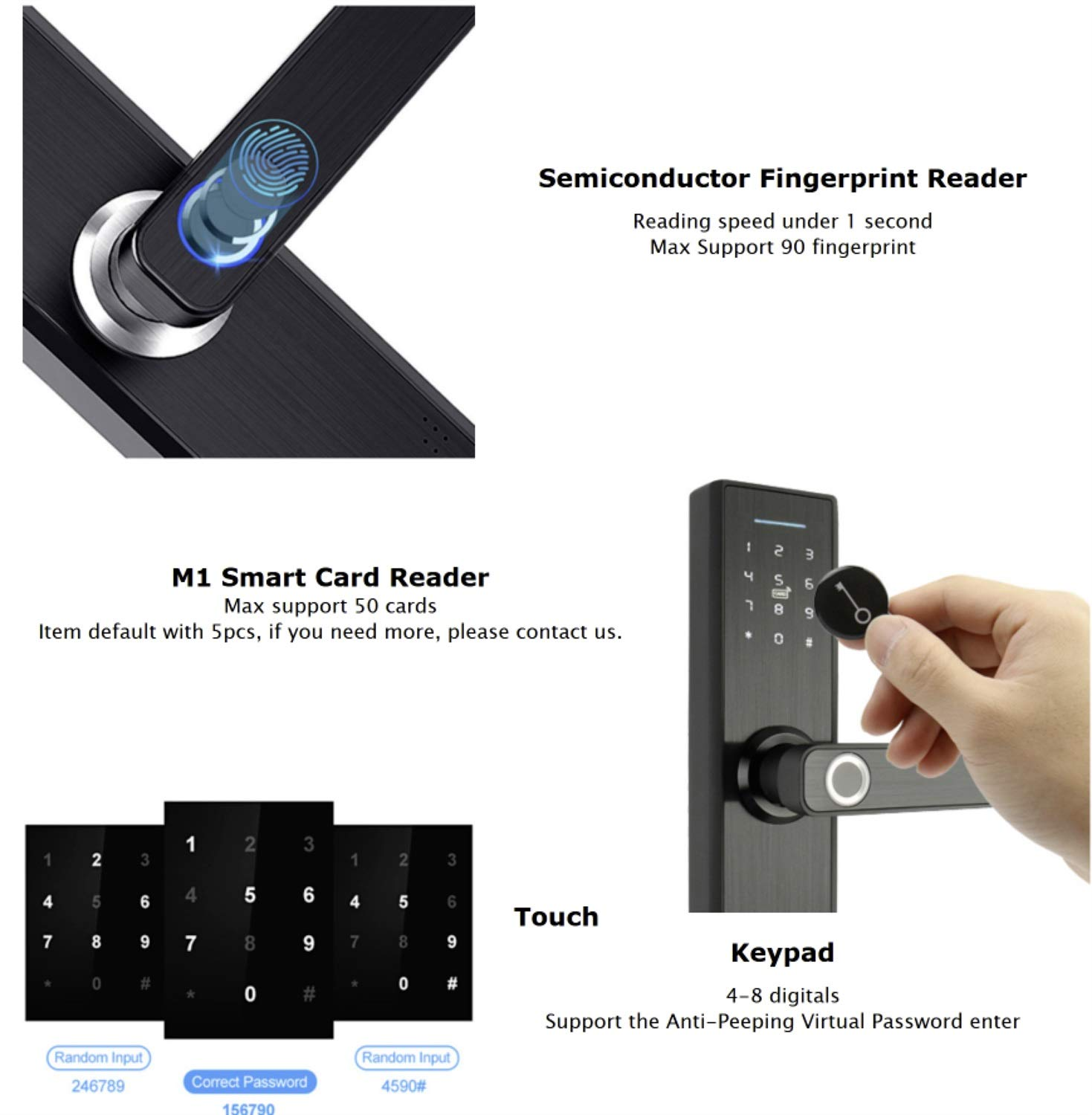 XISAY-Smat Fingerprint Lock Smart Card Digital Code Electronic Door Lock Home Security Mortise Lock Wire Drawing Panel R-FG5 (Color : Size 6)