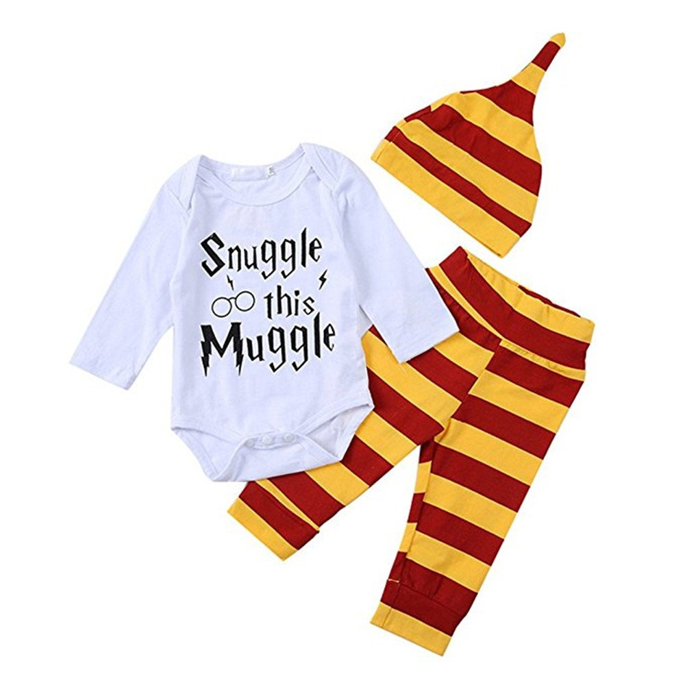b7e0cc72aa1 Symphony Baby Boys Girls Snuggle This Muggle Bodysuit and Striped Pants  Outfit with Hat  Amazon.co.uk  Clothing