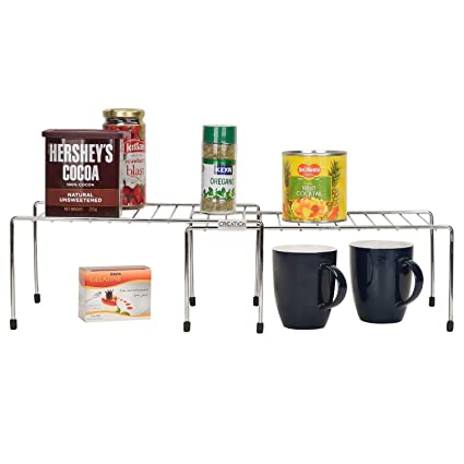 Buy Creatick Stainless Steel Kitchen Dish Rack Expandable Storage Shelves Racks For Kitchen Cabinets Multipurpose Organizer Extend Up To 580 Mm Online At Low Prices In India Amazon In