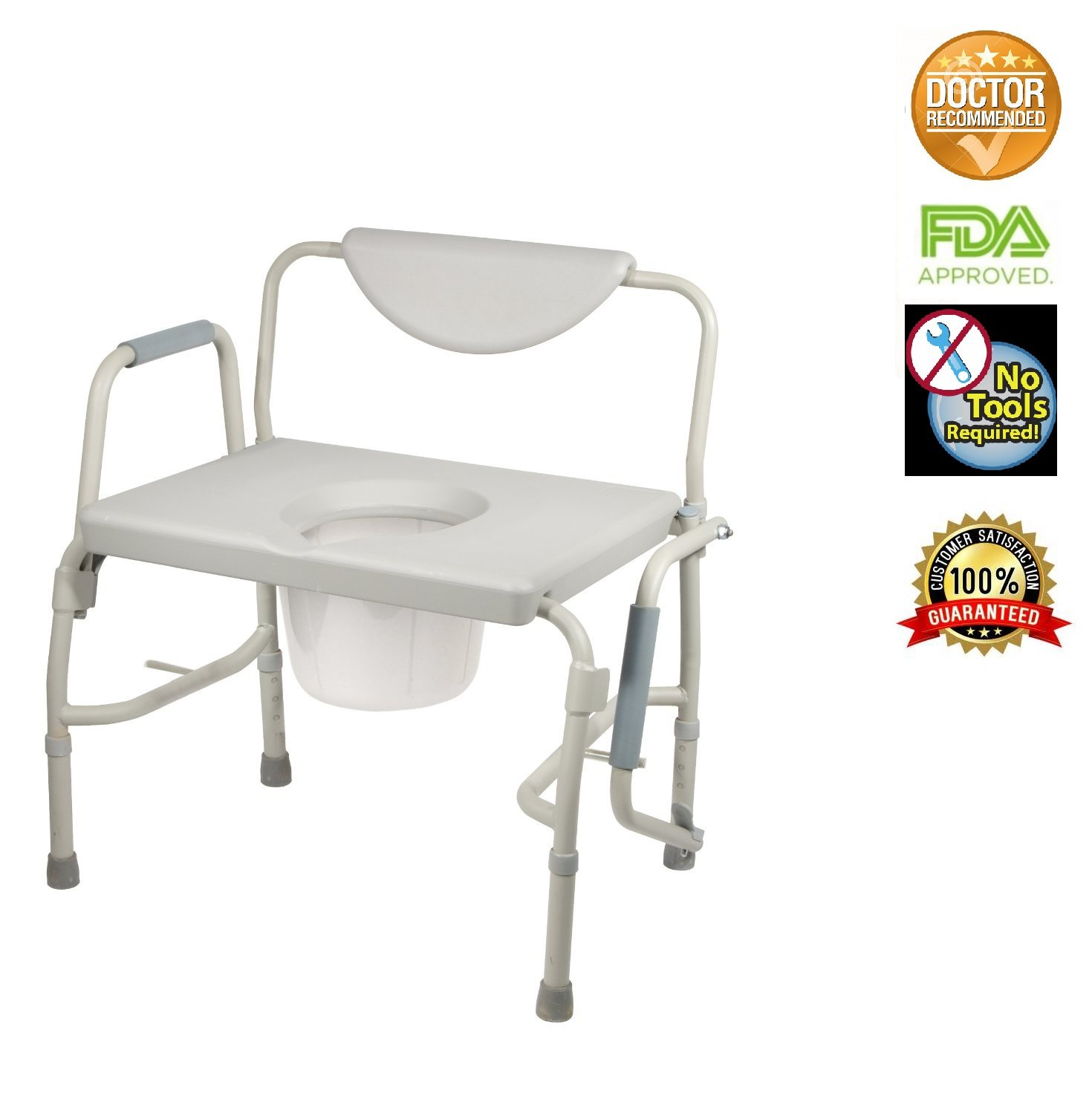 Healthline Trading Heavy Duty Drop Arm Bariatric Commode by Healthline Trading