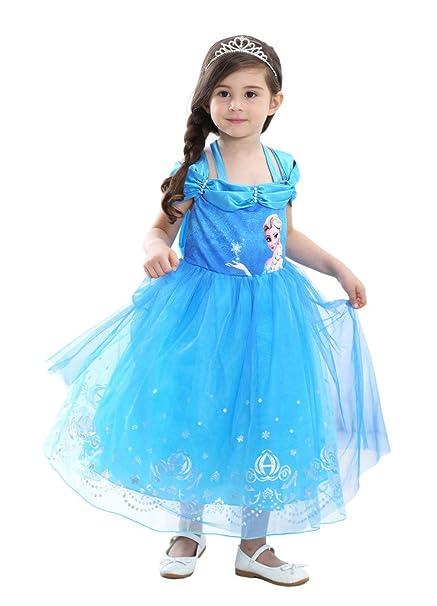 Eyekepper Vestido de fiesta de cumpleaños de malla niñas vestido(Azul,110cm)