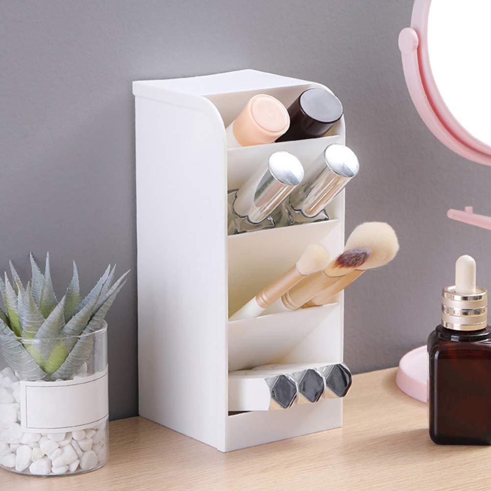 KingbeefLIU Pluma L/ápiz Organizador Escritorio De Oficina Pinceles De Maquillaje L/ápiz Labial Caja De Almacenamiento Soporte Conveniente Espacio De Almacenamiento En Casa Blanco