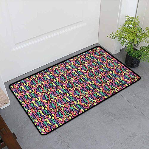 ONECUTE Outside Doormat,Colorful Stained Glass Pattern with Colorful Curved Lines Vintage Doodle Style Illustration,Bathroom mat,31