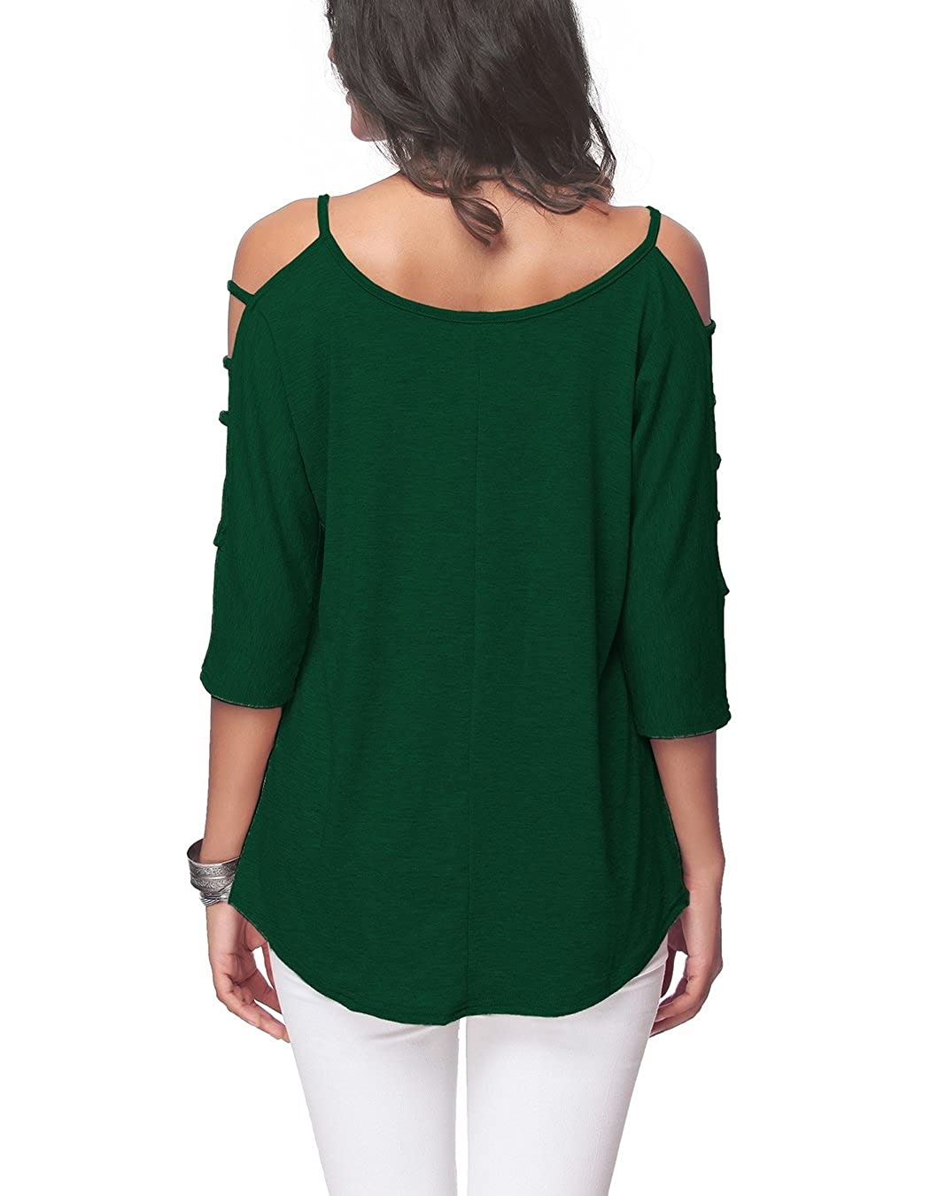 Womens Casual Loose Hollowed Out Shoulder Three Quarter Sleeve Shirts