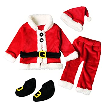 6d430351b Amazon.com : Christmas Unisex Santa Costume Infant Baby  Tops+Pants+Hat+Socks Outfit Set 4PCS (12-18 Months, Red) : Beauty
