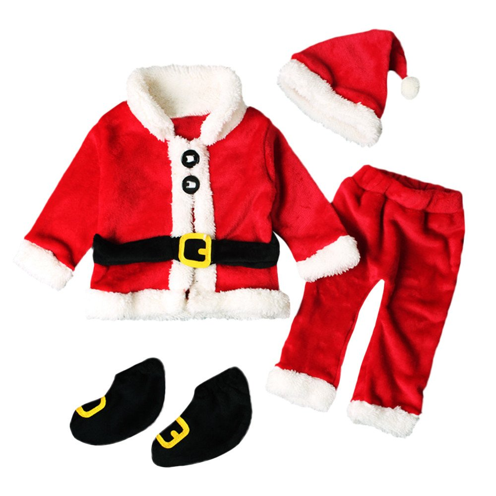 4PCS Infant Baby Santa Christmas Tops+Pants+Hat+Socks Outfit Set Costume Toddler Kids Boy Girl Warm Winter Clothes