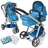 TecTake 3 en 1 Sillas de paseo coches carritos para bebes convertible azul