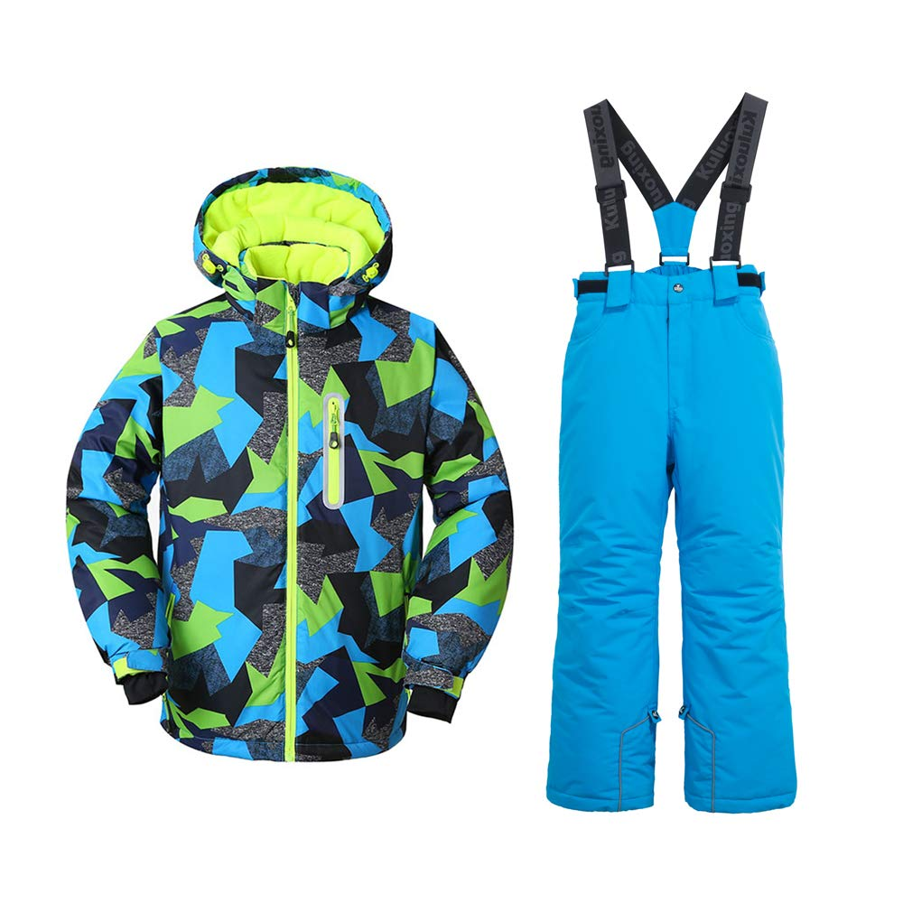 Boys High Warm Hooded Waterproof and Windproof Snowboard Jacket and Pant (4, Blue)
