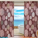 SAVSV Window Sheer Curtains Panels Voile Drapes Morden Red Floral Design 55'' W x 78'' L 2 Panels Great For Living Room Bedroom Girl's Room