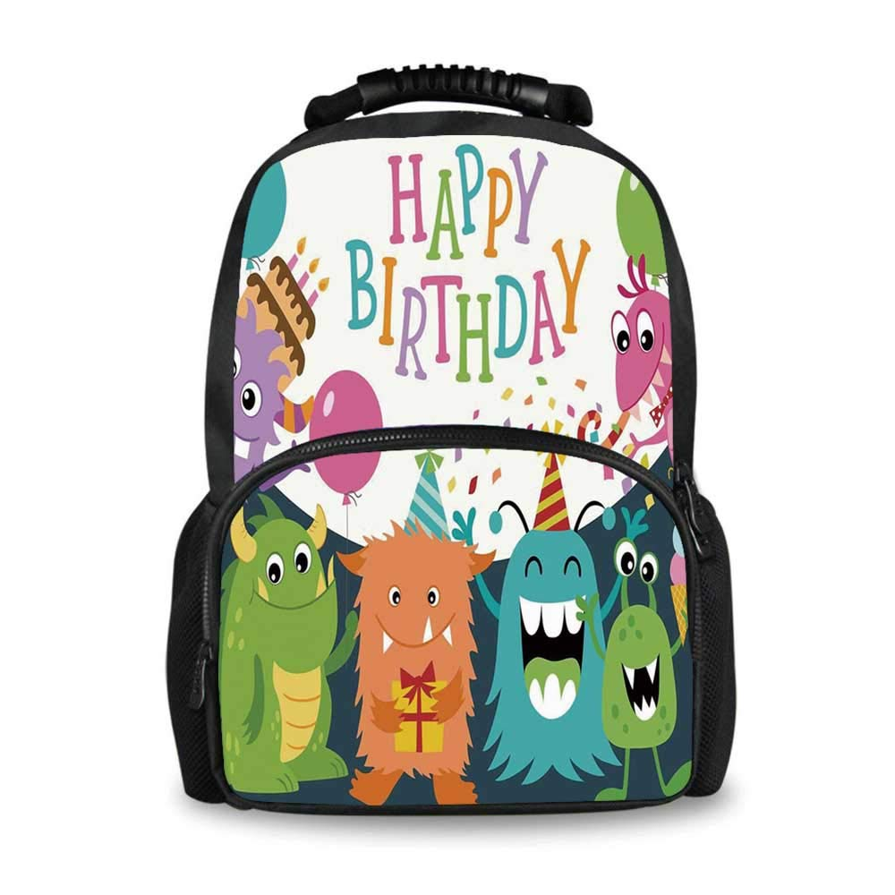 Birthday Decorations for Kids Adorable School Bag,Little Baby Monsters Party Cones Confetti Balloons Image for Boys,12''L x 7''W x 17''H