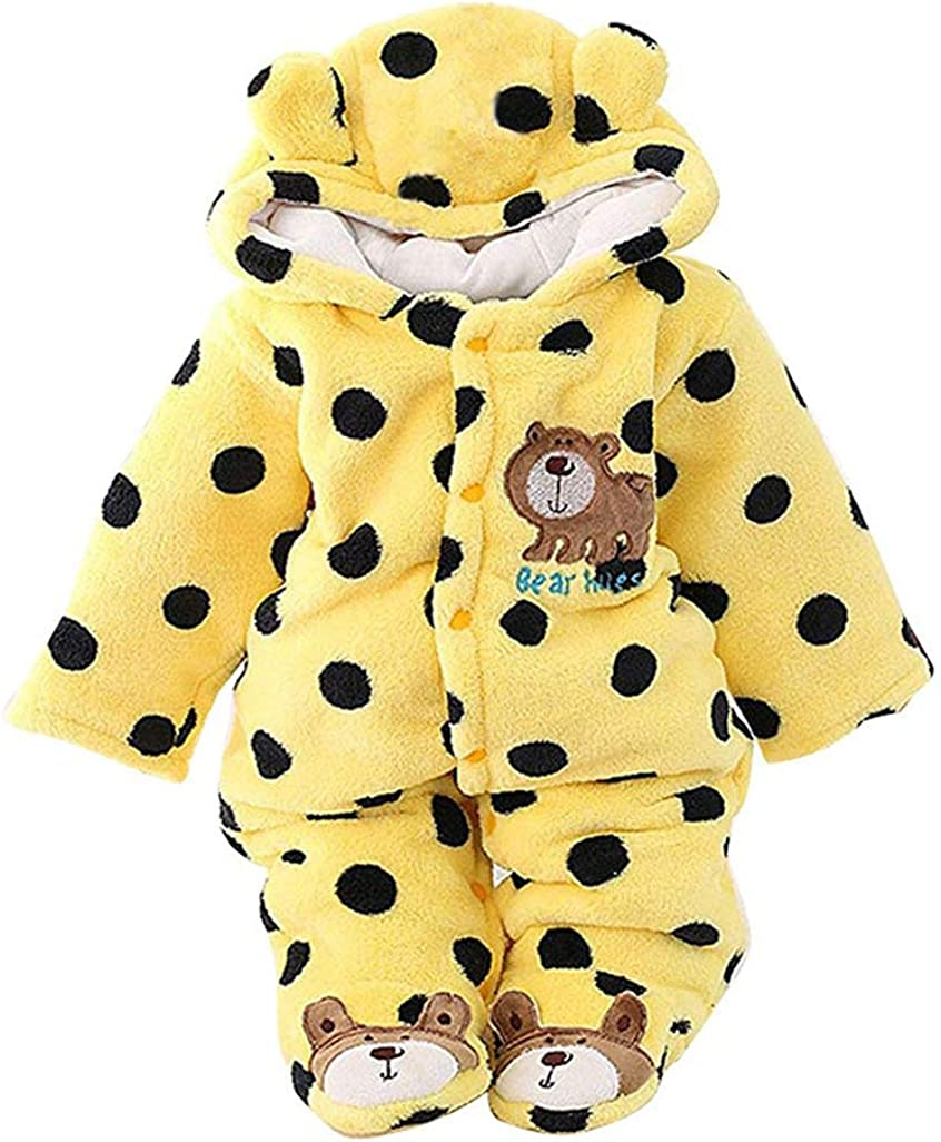 EISHOW Newborn Baby Girls Boys Warm Thicken Hooded Cartoon Bear Jumpsuit Romper Velvet Pajamas Set 0-12 Months