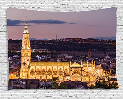 Ambesonne Wanderlust Decor Collection, Dusk As The Flood Lights Are Illuminated On Cathedral In Ancient City Of Toledo, Spain, Bedroom Living Room Dorm Wall Hanging Tapestry, 80W X 60L Inch by Ambesonne