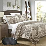 Chic Home Revenna Jacquard Damask and Reversible Houndstooth Print 3-Piece QUEEN Size Quilt Set with Sleep Mask