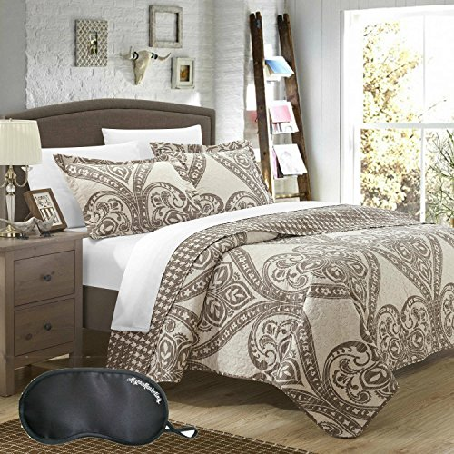Serena & Lily 3 Piece (Chic Home Revenna Jacquard Damask and Reversible Houndstooth Print 3-Piece QUEEN Size Quilt Set with Sleep)