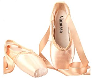 CHRISTY Professional Ladies Ballet Dance Toe shoes Satin Pointe Shoes With Ribbons and Silicone Pointe Gel Toe (9 B(M) US)