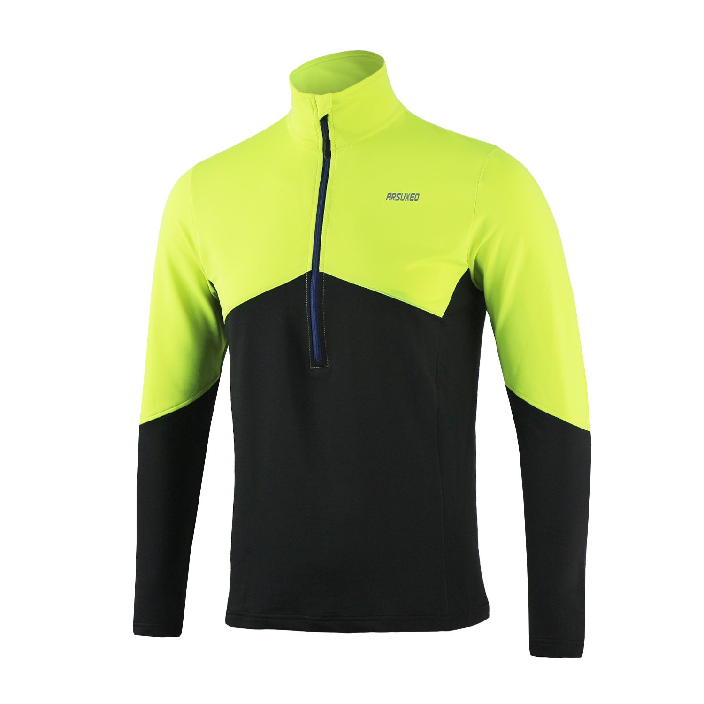 TofernメンズLong Sleeve Half Zip Cycling Climbing Runningジャージーシャツ通気性クイックドライ B07882CNS2  グリーン XL (Bust 114cm/45 inches)