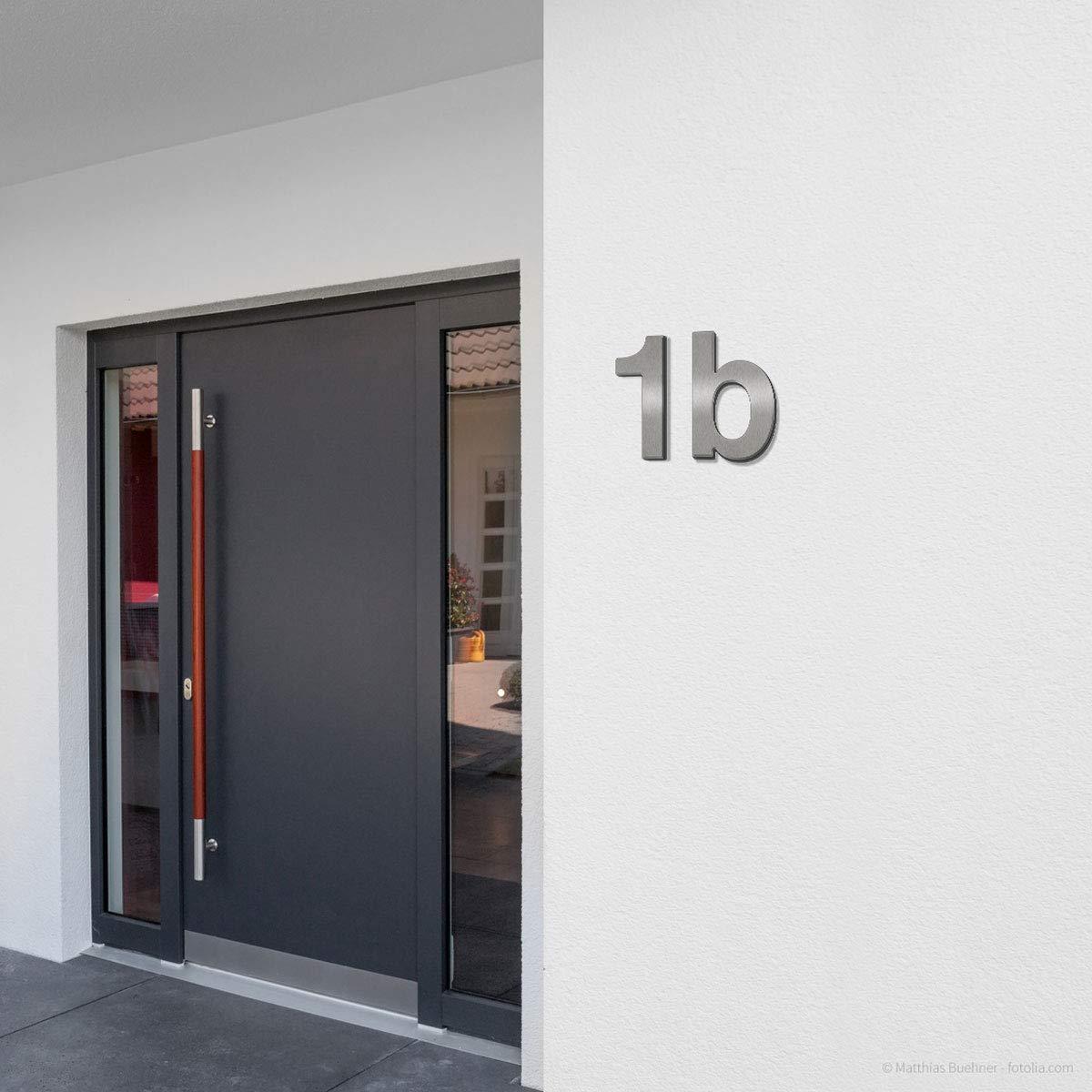 Gro/ße Thorwa/® Design Edelstahl Hausnummer inkl fein geb/ürstet c Montagematerial//H: 200mm // Farbe: silber