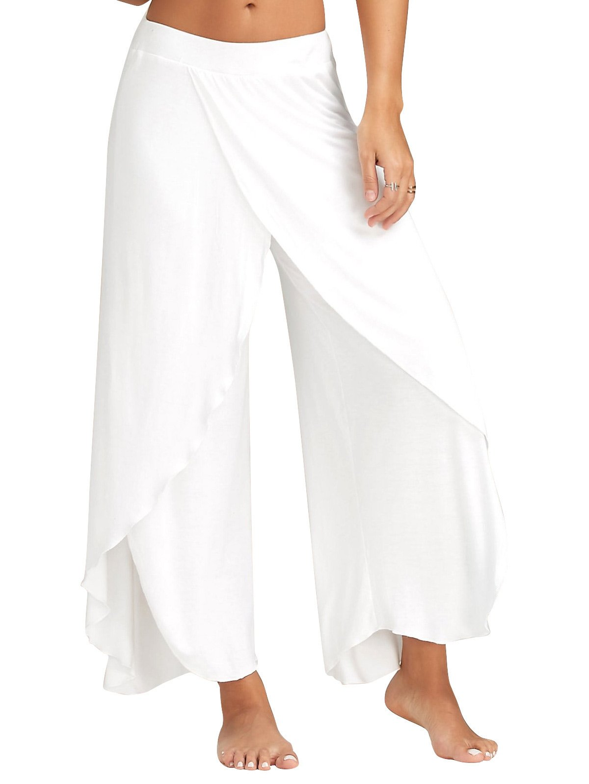 Darshion Women High Split Loose Flared Palazzo Lounge Pants (L, White)