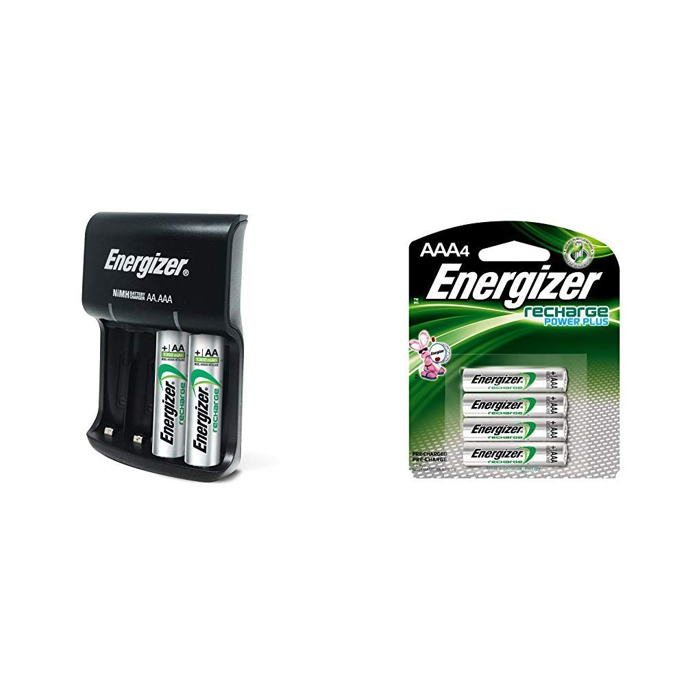 Energizer Recharge Basic Charger with 2 AA NiMH Rechargeable Batteries (Included) LED Indicator & Rechargeable AAA Batteries, NiMH, 800 mAh, Pre-Charged, 4 count (Recharge Power Plus) - EVENH12BP4