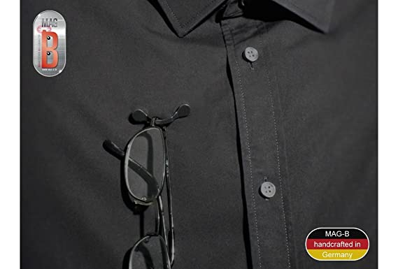 MAG-B magnetischer Brillenhalter Edelstahl schwarz mit original Swarovski Kristallen
