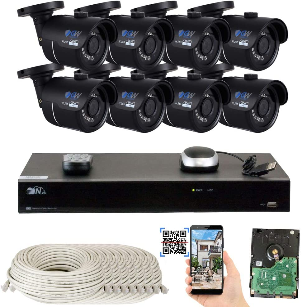 GW 8 Channel H.265 4K NVR 8-Megapixel Security Camera System, 8pcs 8MP PoE 3.6mm Wide Angle Waterproof Bullet 4K IP Cameras, 3TB Hard Drive