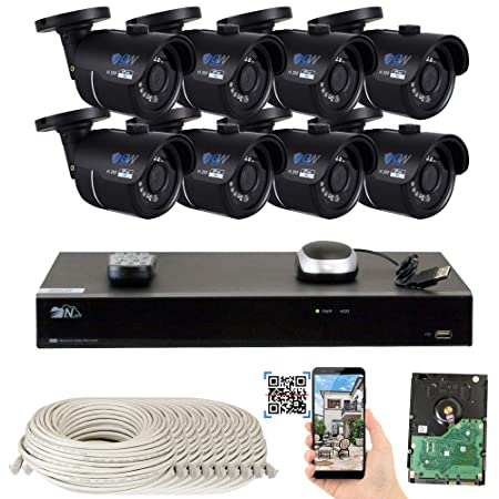 GW 8 Channel H.265 4K NVR 8-Megapixel Security Camera System, 8pcs 8MP PoE 3.6mm Wide Angle Waterproof Bullet 4K IP Cameras, 3TB Hard Drive