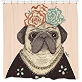 Shower Curtain Sets Funny Pug Shower Curtain Set with Frida Kahlo Dog Floral Mexican Art 12 Hooks Included