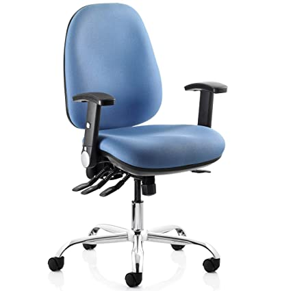 REACT Comfortable Heavy Duty Computer Chair With Chrome Base 23 Stone Capacity Blue Amazoncouk Office Products