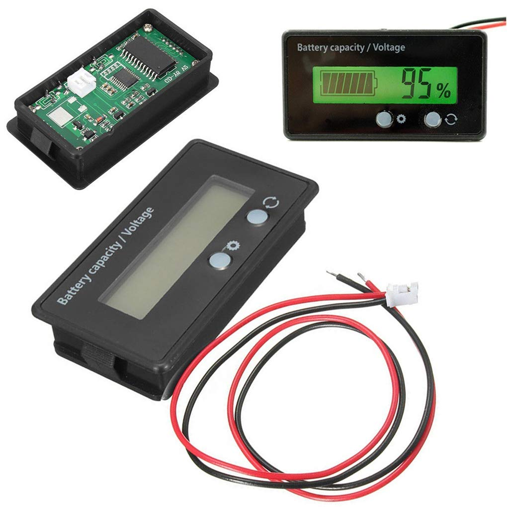 UHAoo 12V-48V Tester Capacidad de litio LCD Volt/ímetro medidor de bater/ía de plomo-/ácido Indicador Analizador de 12V 24V 48V