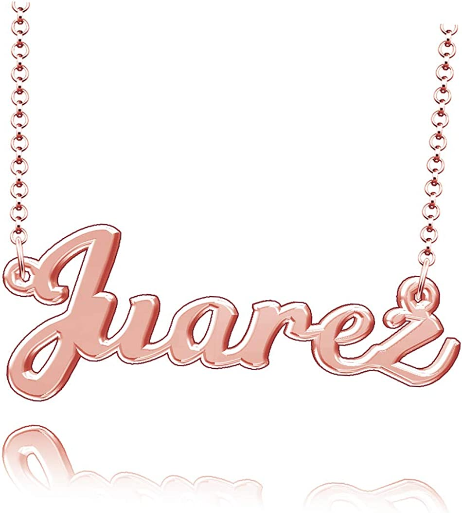 LoEnMe Jewelry Personalized Juarez Name Necklace Stainless Steel Plated Custom Made of Last Name Gift for Family