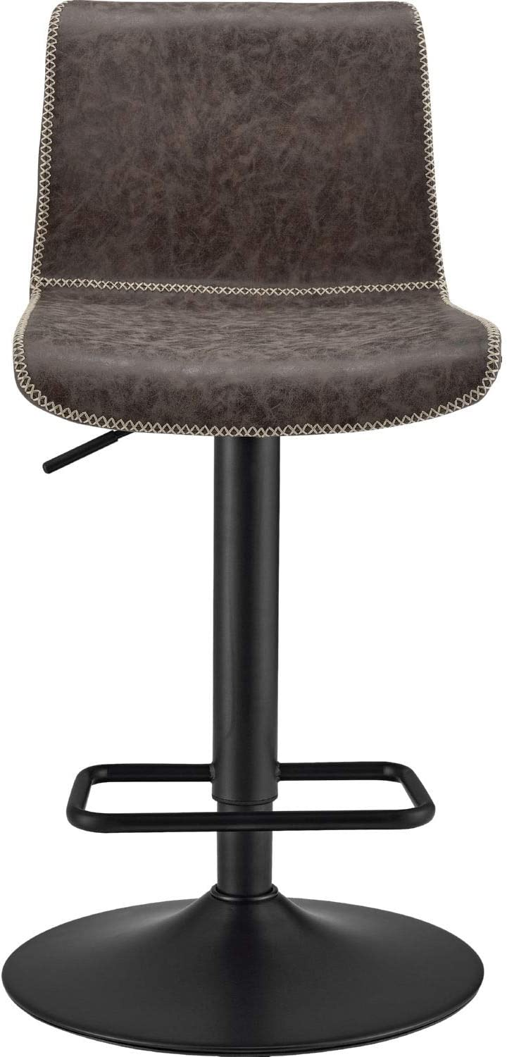 New Pacific Direct Jayden PU Leather Low Back Gaslift Bar, Set of 2 Bar & Counter Stools, Vintage Coffee Brown