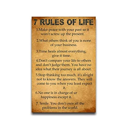 Amazon 60 Rules Of Life Motivation Quote Poster Wall Poster Size Custom 7 Rules Of Life Quote